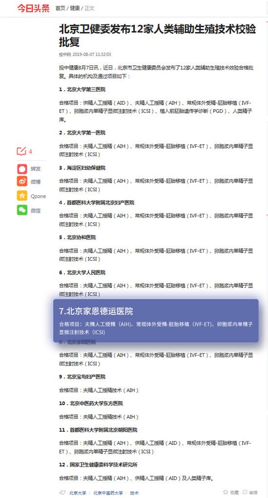 北京卫健委发布12家人类辅助生殖技术校验批复,北京家恩德运医院位列其中